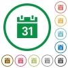 Calendar outlined flat icons - Set of calendar color round outlined flat icons on white background
