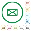 Message outlined flat icons - Set of message color round outlined flat icons on white background