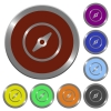 Color compass buttons - Set of color glossy coin-like compass buttons.