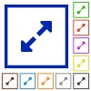 Set of color square framed Resize full flat icons on white background - Resize full framed flat icons
