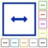 Resize horizontal framed flat icons - Set of color square framed Resize horizontal flat icons on white background