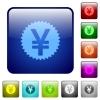 Color yen sticker glass buttons - Set of color yen sticker glass web buttons.