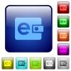 Color e-wallet glass buttons - Set of color e-wallet glass web buttons.