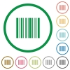 Barcode outlined flat icons - Set of barcode color round outlined flat icons on white background