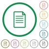 Document outlined flat icons - Set of document color round outlined flat icons on white background