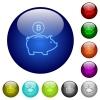 Color bitcoin piggy bank glass buttons - Set of color bitcoin piggy bank glass web buttons.