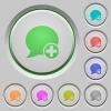 Post blog comment push buttons - Set of color Post blog comment sunk push buttons.