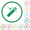 Magic wand outlined flat icons - Set of magic wand color round outlined flat icons on white background