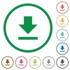 Download outlined flat icons - Set of download color round outlined flat icons on white background