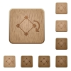 Rotate object wooden buttons - Set of carved wooden rotate object buttons in 8 variations.