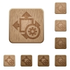 Size settings wooden buttons - Set of carved wooden size settings buttons in 8 variations.