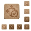 Accept size wooden buttons - Set of carved wooden accept size buttons in 8 variations.