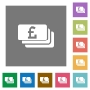 Pound banknotes square flat icons - Pound banknotes flat icon set on color square background.