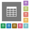 Table square flat icons - Table flat icon set on color square background.