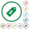 Dollar price label outlined flat icons - Set of Dollar price label color round outlined flat icons on white background