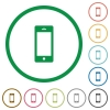 Cellphone outlined flat icons - Set of Cellphone color round outlined flat icons on white background