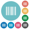 Flat barcode icons - Flat barcode icon set on round color background.