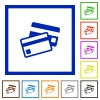 Credit card framed flat icons - Set of color square framed Credit card flat icons on white background