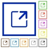 Maximize window framed flat icons - Set of color square framed Maximize window flat icons on white background