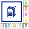 Documents framed flat icons - Set of color square framed documents flat icons on white background