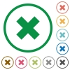 Set of cancel color round outlined flat icons on white background - Cancel outlined flat icons