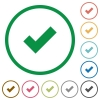 OK outlined flat icons - Set of Ok color round outlined flat icons on white background
