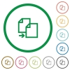 Copy outlined flat icons - Set of copy color round outlined flat icons on white background