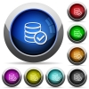 Database ok button set - Set of round glossy database ok buttons. Arranged layer structure.
