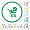 Checkout outlined flat icons - Set of checkout color round outlined flat icons on white background