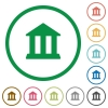 Bank outlined flat icons - Set of bank color round outlined flat icons on white background