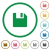 Save outlined flat icons - Set of save color round outlined flat icons on white background