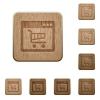 Webshop application wooden buttons - Set of carved wooden Webshop application buttons in 8 variations.