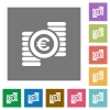 Euro coins square flat icons - Euro coins flat icon set on color square background.