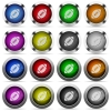 Rugby ball button set - Set of rugby ball glossy web buttons. Arranged layer structure.