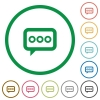 Working chat outlined flat icons - Set of Working chat color round outlined flat icons on white background