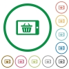 Mobile shopping outlined flat icons - Set of Mobile shopping color round outlined flat icons on white background