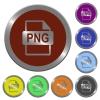 Color PNG file format buttons - Set of color glossy coin-like PNG file format buttons.