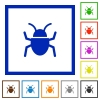 Bug framed flat icons - Set of color square framed bug flat icons on white background