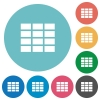 Flat table icon set on round color background. - Flat table icons