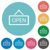 Flat open sign icons - Flat open sign icon set on round color background.