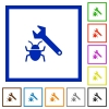Bug fixing framed flat icons - Set of color square framed bug fixing flat icons on white background