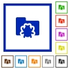 Bug folder framed flat icons - Set of color square framed bug folder flat icons on white background