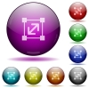 Resize element glass sphere buttons - Set of color Resize element glass sphere buttons with shadows.