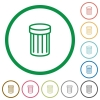 Trash outlined flat icons - Set of trash color round outlined flat icons on white background