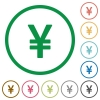 Yen sign outlined flat icons - Set of yen sign color round outlined flat icons on white background