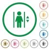 Set of elevator color round outlined flat icons on white background - Elevator outlined flat icons