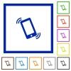 Ringing phone framed flat icons - Set of color square framed Ringing phone flat icons on white background