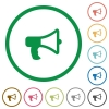 Megaphone outlined flat icons - Set of Megaphone color round outlined flat icons on white background