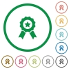 Award outlined flat icons - Set of award color round outlined flat icons on white background