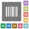 Barcode square flat icons - barcode flat icon set on color square background.